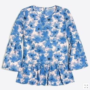 J.CREW Printed Bell-Sleeve Top in Water Floral
